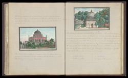 The tomb of Adham Khan near the Qutb Minar (left), The Tomb of Shaikh 'Abdul Haq Dihlavi near the Qutb Minar (right)